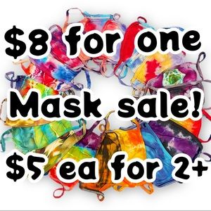 Tie-dye face mask reusable washable cotton youth